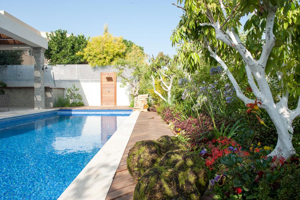 """""""כיף לבנות על מגרש גדול בלי צפיפות"""". מבט לחצר ולבריכה  (צילום: גלעד רדט )"""