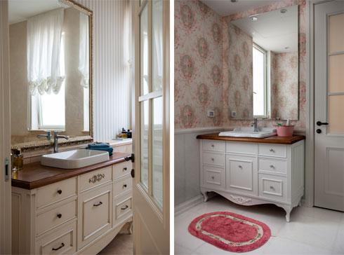 הווילונות והטפטים עושים את האווירה בחדרי האמבטיה  (צילום: גלעד רדט )