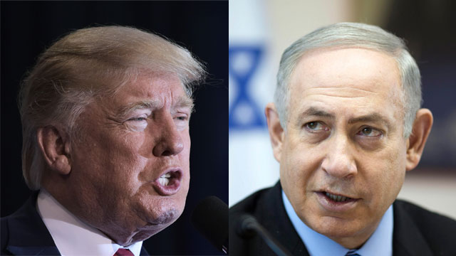Trump and Netanyahu. It's no coincidence that the term 'two states for two people' was excluded from the White House statement (Photos: EPA, AFP)