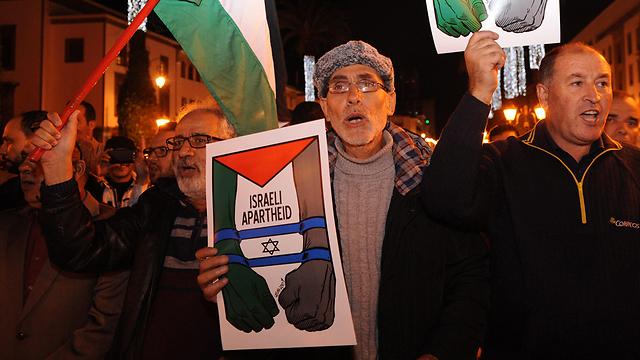 Protesters in Morocco compare Israel to apartheid (Photo: EPA)
