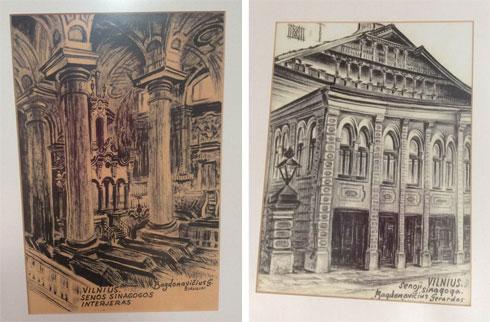 בציור מימין: חזית ספריית שטראשון. משמאל: חלל בית הכנסת הגדול. בסיסו של אחד העמודים המרכזיים נמצא בחפירות ב-2011 (צילום: אדריכלית צילה זק)