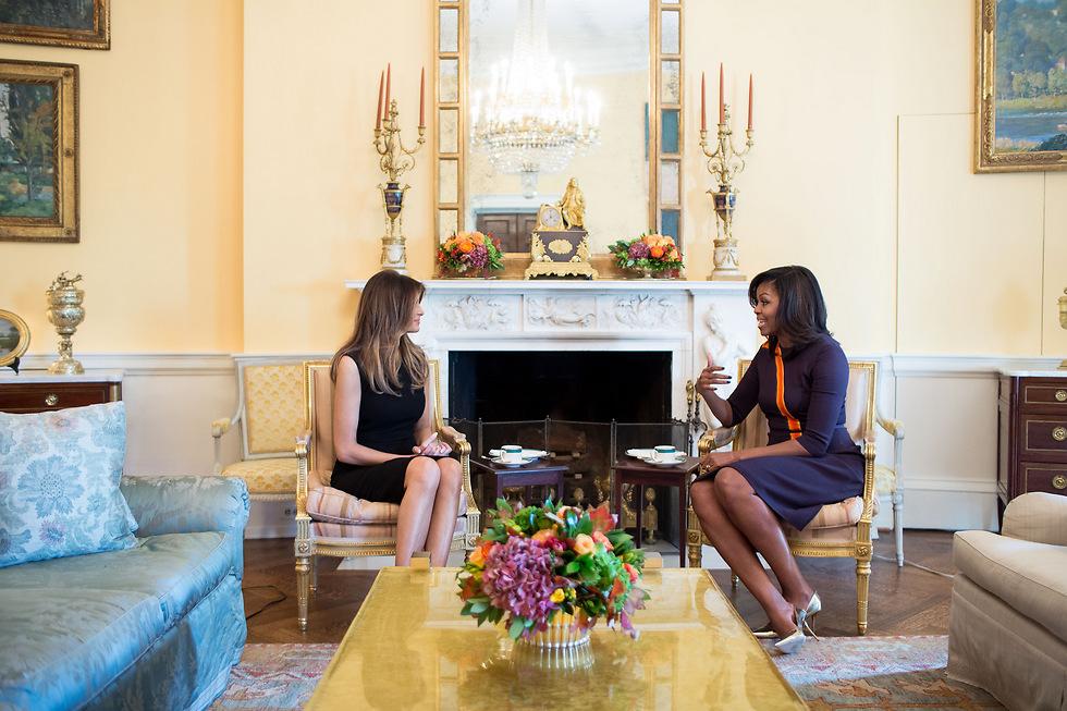 Мелания и Мишель. Фото: пресс-служба Белого дома (צילום: הבית הלבן)