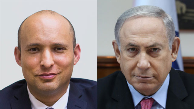 Prime Minister Benjamin Netanyahu (R) and Education Minister Naftali Bennett. The Bayit Yehudi leader is the only one in the government who has stands to gain from early elections (Photos: Amit Shaabi, Daniel Elior)