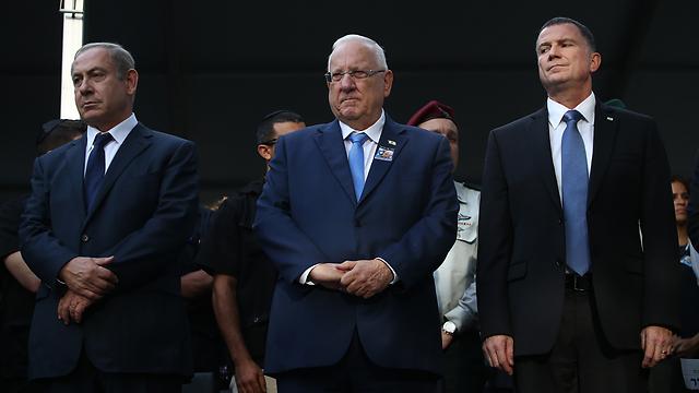 מימין: יולי אדלשטיין, ראובן ריבלין ובנימין נתניהו (צילום: אוהד צויגנברג) (צילום: אוהד צויגנברג)