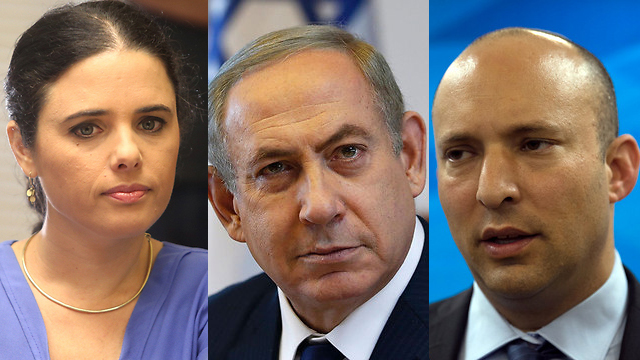 Justice Minister Shaked, Prime Minister Netanyahu and Minister of Education Bennett