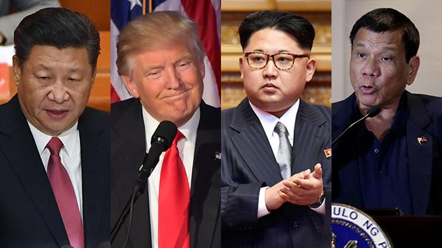 מחכים לשמוע מהנשיא האמריקני הנבחר. מימין: נשיא הפיליפינים דוטרטה, שליט צפון קוריאה קים, טראמפ ונשיא סין שי (צילום: AFP, רויטרס)