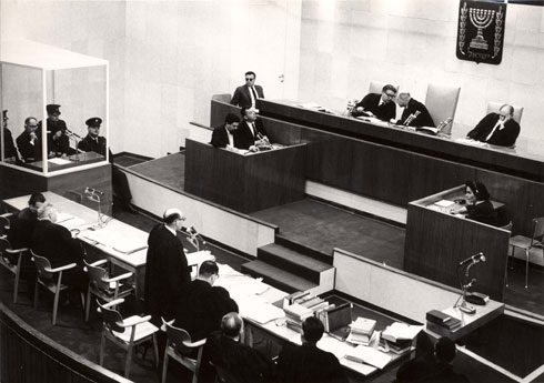 כך תוכננה הזירה של משפט אייכמן. לחצו על התצלום (באדיבות ארכיון התצלומים, יד ושם)