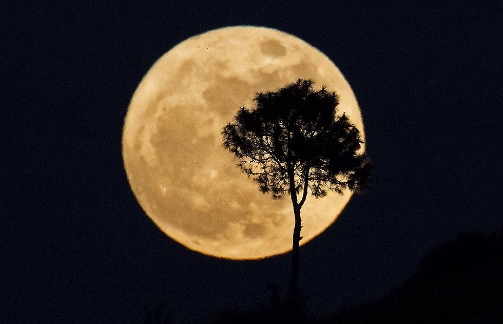 הסופר-מון במיאנמר, הערב (צילום: AFP)