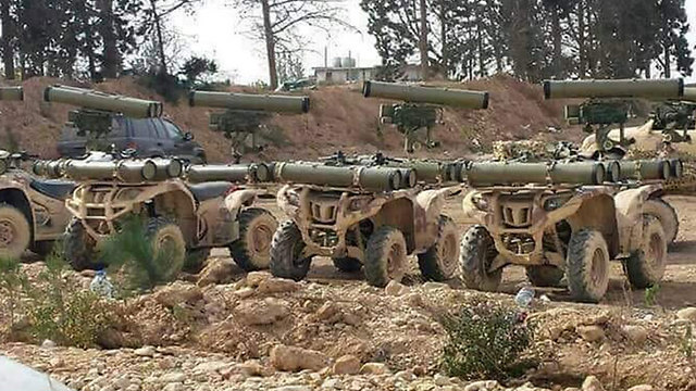 Armored Hezbollah vehicles in Syria