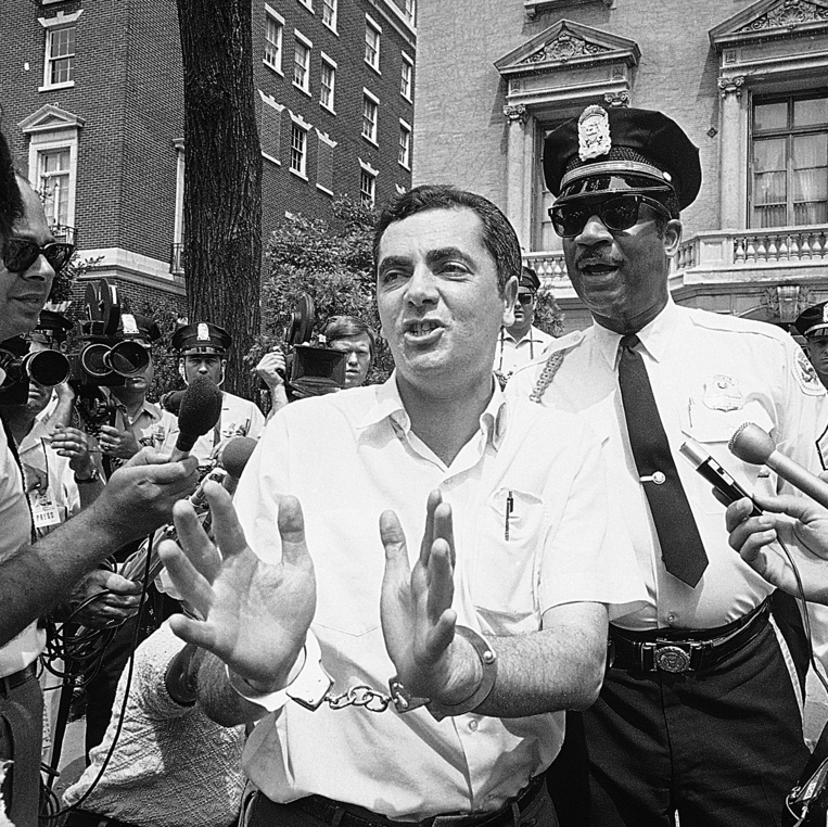 Kahane arrested during a 1979 protest in front of the Soviet Embassy in the US against the USSR's treatment of Jews