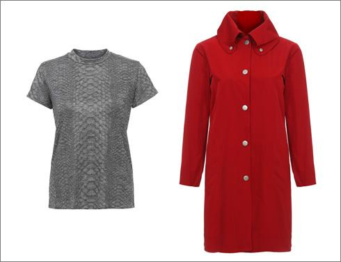מעיל אדום, 1,050 שקל; חולצה בדוגמת נחש, 285 שקל (צילום: ניר יפה)