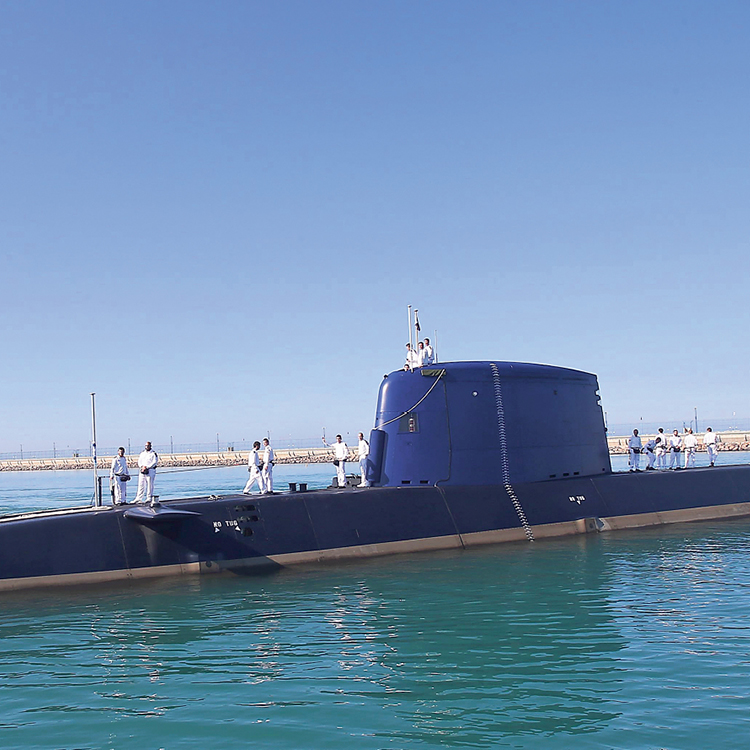 A German-made submarine at the Navy base in Haifa