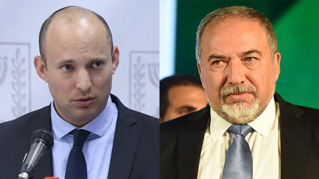 Lieberman (R) and Bennett. Smelling elections in the air, they're fighting over right-wing votes   (Photo: GPO, Yair Sagi)