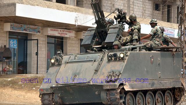 """תועד במצעד של חיזבאללה באל-קוסייר. נגמ""""ש אמריקני מדגם M113, המוכר בצה""""ל כ""""זלדה"""" (ארכיון)"""
