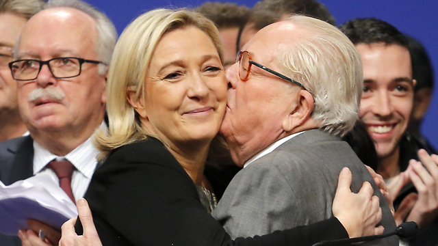 Marine and Jean-Marie Le Pen. It turns out that the daughter—just like the father—suffers from the ancient European disease of anti-Semitism (Photo: AP)