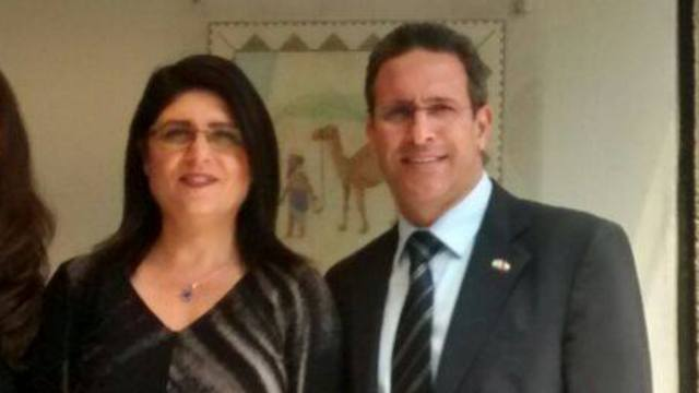 Israel's Ambassador to Chile Eldad Hayat, right, with his wife Michal.