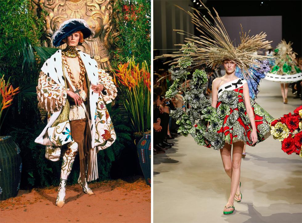 מימין: Viktor & Rolf, Emma ensemble,Van Gogh Girls collection, Spring/Summer 2015, Haute Couture, © Team Peter Stigter. משמאל: John Galliano for Christian Dior, Autumn/Winter 1998–1999, Haute Couture, © Guy Marineau