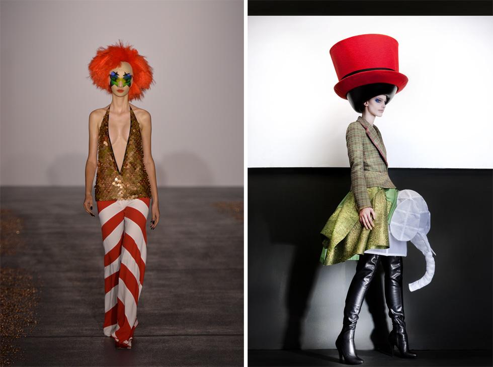 מימין: Walter Van Beirendonck, Hat: Stephen Jones, Autumn/Winter 2010– 2011, © Ronald Stoops. משמאל: Gareth Pugh, Spring/Summer 2016, Ready-to-wear, Courtesy Gareth Pugh