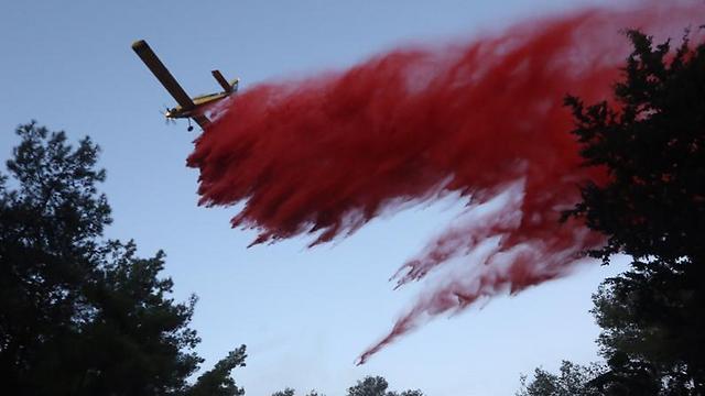מטוסי הכיבוי פעלו תחילה באזור לטרון (צילום: גיל יוחנן) (צילום: גיל יוחנן)