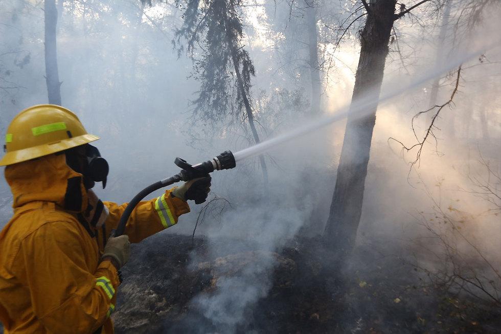 כיבוי האש באזור נווה שלום  (צילום: גיל יוחנן) (צילום: גיל יוחנן)