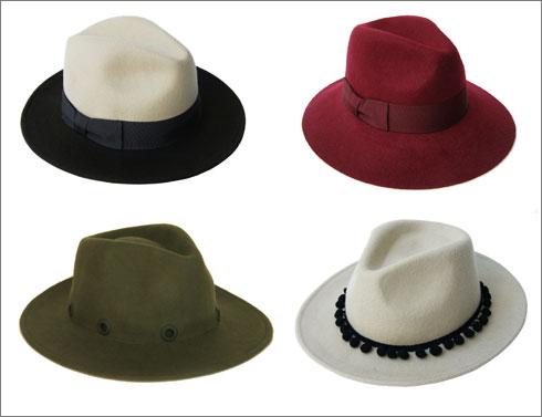 כובע בשלושה צבעים, 440 שקל; כובע בורדו במראה מפוסל, 420 שקל; מגבעת לבד עם עיטור פונפונים שחור, 380 שקל; כובע זית עם אבקות, 399 שקל (צילום: נועם כהן)