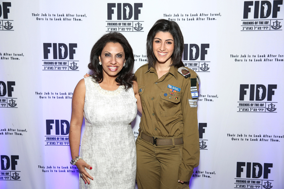 Journalist and anti-Islamic extremism activist Brigitte Gabriel with IDF Staff Sgt. (Res.) Elle at the Jan. 24 FIDF Palm Beach/Broward Region Solidarity Gala Dinner in Boca Raton, Fla. (Photo: Studio Palm Beach)