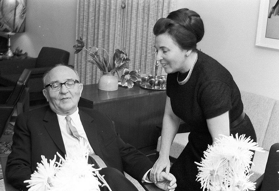 מרים ולוי אשכול ב-1969 (צילום: דוד רובינגר) (צילום: דוד רובינגר)