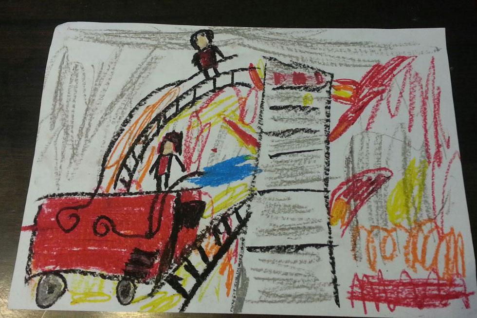 הציור של ליאור (שם בדוי): להבות אש שיצאו מכלל שליטה