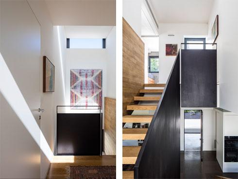 מימין: בעלייה לקומת חדרי השינה. משמאל: מבט מלמעלה (צילום: עמית גירון)