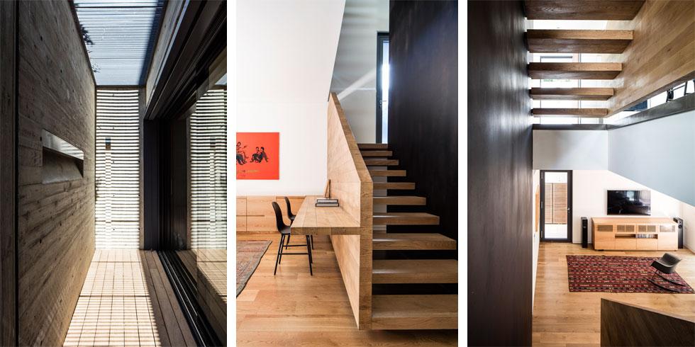 מימין: מבט מהמדרגות אל קומת המרתף, שבה תוכנן מרחב למשחק, לצפייה בטלוויזיה ולעבודה. במרכז: שולחן כתיבה שמתחבר אל קיר העץ של גרם המדרגות. משמאל: החצר האנגלית שמאירה את חדר העבודה בצד השני של הקומה (צילום: עמית גירון)