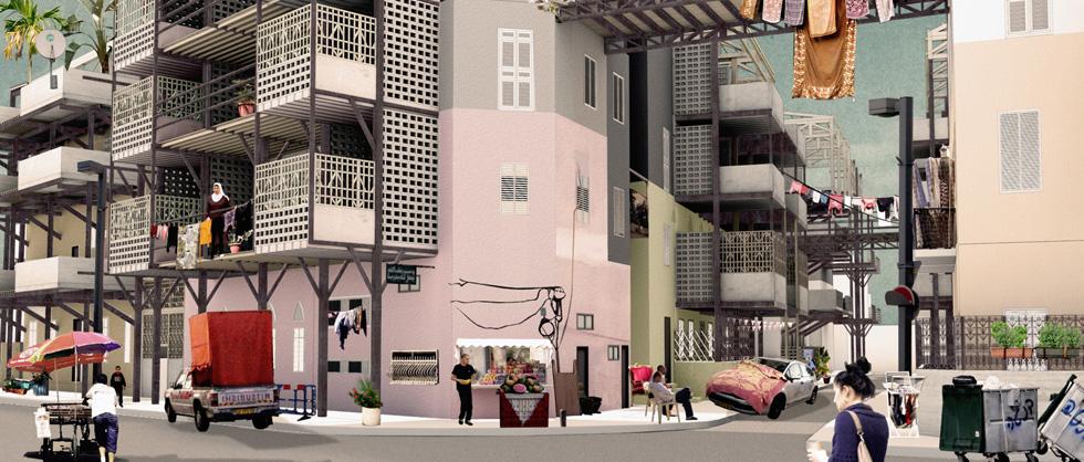 שכונת אל נוזהא ביפו, שאותה מציעה לילה מועלם להרחיב בצורה עצמאית בידי התושבים (צילום: באדיבות פרס דוד עזריאלי)