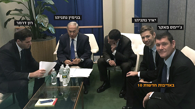Packer, seen next to Yair, at a meeting with Netanyahu (Photo: Courtesy of Channel 10 News)