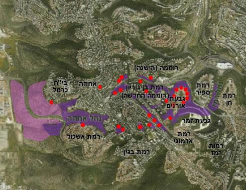 התפשטות האש (בסגול) והבתים שנפגעו (באדום). האש דילגה מעל כבישים רחבים, כלומר חישוף עצים לא מבטיח שום תוצאה. הפתרון: מניעה והיערכות
