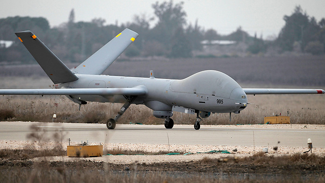 Hermes 900 drone near the Syrian border. No Israeli involvement was reported in the recent strike (Photo: AFP) (Photo: AFP)