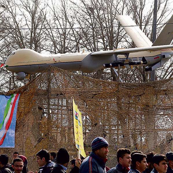 An Iranian drone on display in Tehran.