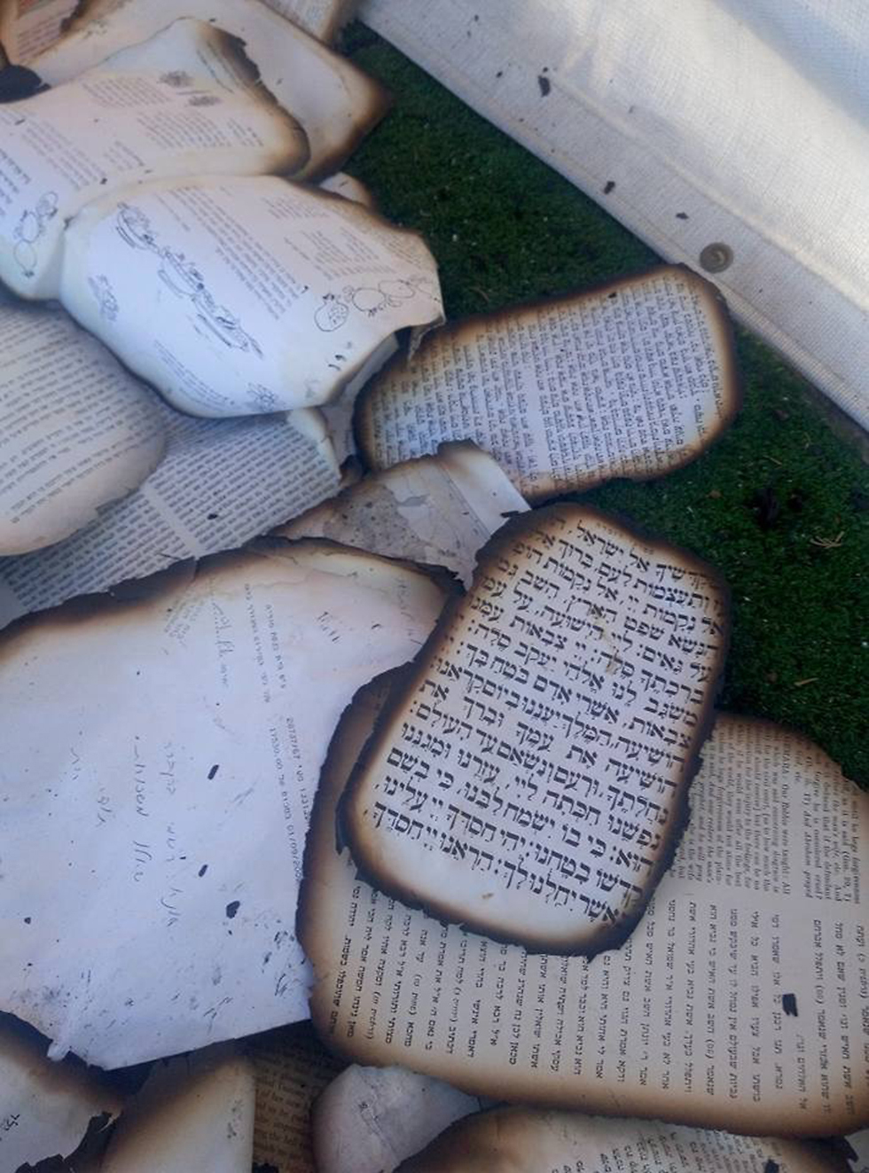Burnt pages from the Synagogue (Photo: Rabbi Dovi Hiyon)