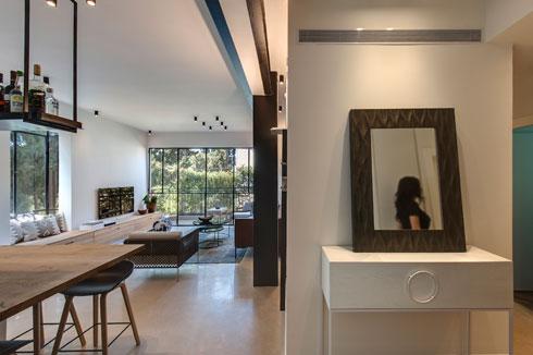 מבט מדלת הכניסה. משמאל המטבח והסלון, מימין חדרי השינה (צילום: עודד סמדר)