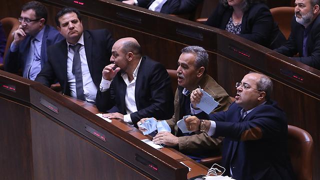 With fellow Arab Knesset members (Photo: Alex K)