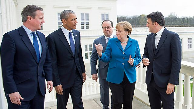 מתיאו רנצי, אנגלה מרקל, פרנסואה הולנד, ברק אובמה ודיוויד קמרון. ב-2017 רק מרקל תהיה רלוונטית (אם תנצח בבחירות) (צילום: gettyimages)