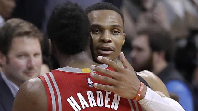 ווסטברוק והארדן. מתחרים על תואר ה-MVP (צילום: AP) (צילום: AP)