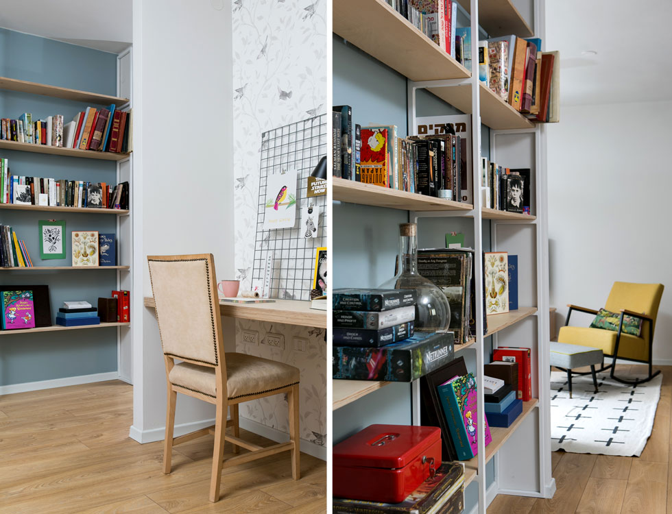 שולחן העבודה מוקם בנישה בנויה, שבתוכה הודבק טפט. לאורך המסדרון נבנתה ספריית ברזל לבנה עם מדפי עץ סנדוויץ' (צילום: שירן כרמל)