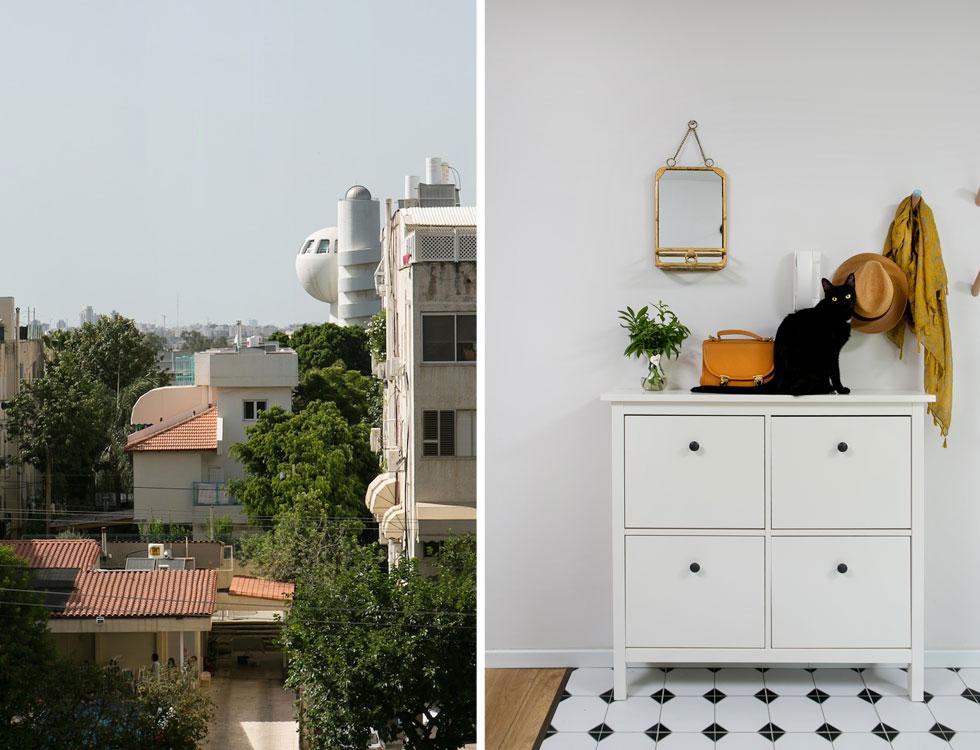 מימין: מבואת הדירה, ששטחה 130 מטרים רבועים. משמאל: מחלון הסלון נשקף מאיץ החלקיקים של מכון ויצמן, שבו עושה אב המשפחה דוקטורט (צילום: שירן כרמל)