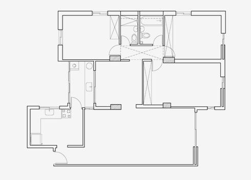 תוכנית הדירה המקורית (שרטוט: קרן בר סטודיו Karen.B)