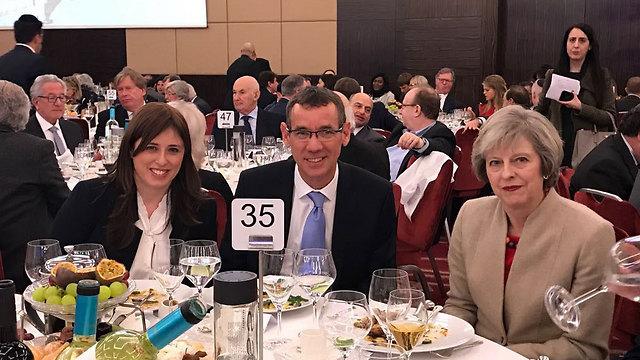 Theresa May with Israel's UK Envoy Mark Regev and Israeli Deputy Foreign Minister Tzipi Hotovely (Photo: Jon Rifkin)
