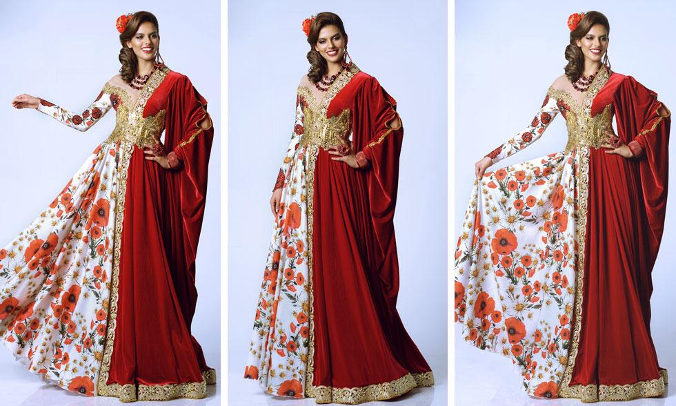 מלכת היופי קארין עליה בשמלה הלאומית בעיצובו של אביעד אריק הרמן, המבוססת השנה על דמותה של שושנה דמארי.  עיצוב שיער: ז׳אן פייר ברדה, איפור: דיתי (צילום: ערן לוי)