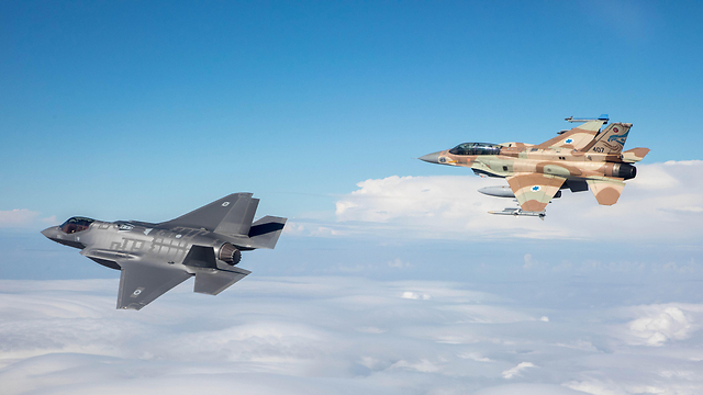 Accompanied by F-16 (camouflage paint) (Photo: IDF Spokesperson)