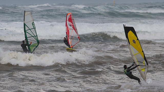 גולשים בחוף בת גלים בחיפה (צילום: עידו ארז) (צילום: עידו ארז)