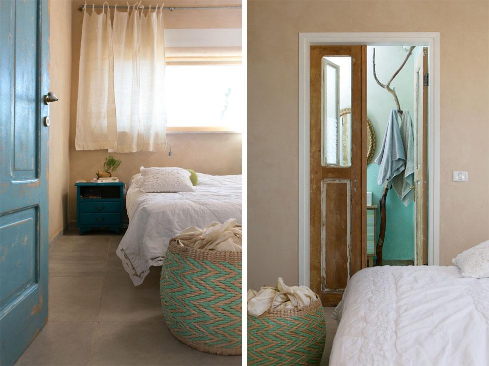 חדר ההורים. הקירות בחדרי הרחצה צופו בטיח טדלקט, שמיועד לחדרים רטובים ואפשר לעשות בו שימוש במקום אריחי קרמיקה (צילום: שירן כרמל)