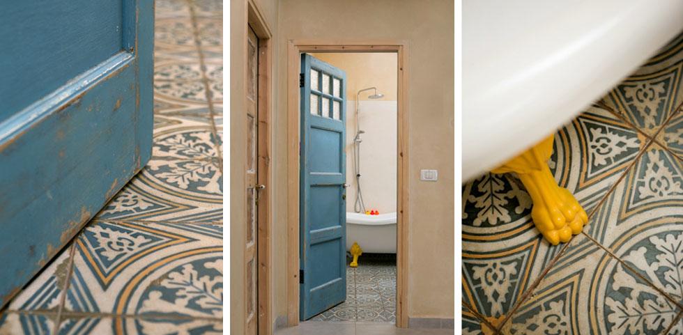 דלתות הבית נקנו משומשות, חודשו והותאמו מחדש לפתחי הבית. בחדרי הרחצה אריחי רצפה מעוטרים (צילום: שירן כרמל)