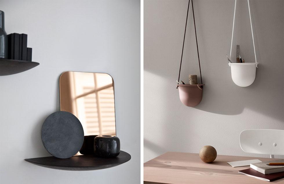 house in moda הוא אתר חדש נוסף שמציע פריטים משלימים לבית. בתמונה פריטים של המותג הדני MENU. כד דקורטיבי (מימין) עולה 390 שקל, ומדפי עץ אלון מעוגלים 260 שקל